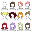 women hairstyles set girl haircut avatar vector image