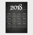 2018 wall calendar on blackboard with chalk eps10 vector image vector image