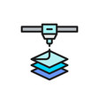 3d printer printing flat color line icon vector image
