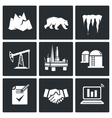 Arctic and oil production Icons Set vector image vector image