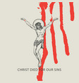 banner with crucified jesus christ and blood drips