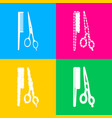 barber shop sign four styles of icon on four vector image vector image