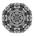 black and white floral ethnic mandala on white vector image vector image