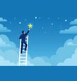 businessman success man on ladder reaches stars vector image