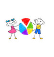 cartoon boy and girl holding pie chart in hands vector image vector image