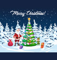 christmas tree santa and elf with gifts vector image vector image