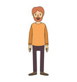 color image caricature full body man bearded with vector image vector image
