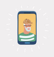 elderly man on phone and smiling vector image vector image