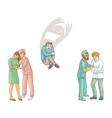 flat doctors calming down patients set vector image vector image