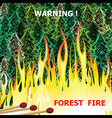 Forest fire wildfire burning tree in red and vector image