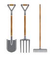 garden tool spade pitchfork and rake icons vector image vector image