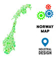 gears norway map collage vector image