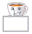 grinning with board mint tea above wooden cartoon vector image vector image