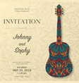 guitar invitation floral pattern background vector image