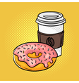 hand drawn pop art of donut and coffee on the go vector image