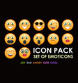 icon pack of emotion smiles on black background vector image