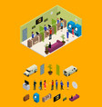 interior bank office and elements part isometric vector image