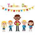 man teacher and pupils vector image