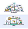 mass media and social network likes banner vector image
