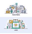 mass media and social network likes banner vector image