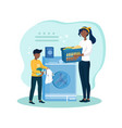 mother teaches son how to wash clothes vector image vector image