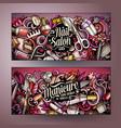 nail art hand drawn doodle banners set cartoon vector image vector image