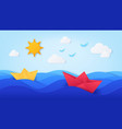 paper sea with boats origami with ocean waves vector image vector image