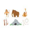 prehistoric stone age set primitive people vector image vector image