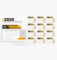professional business 2020 calendar in geometric vector image