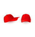 red cap isolated on white front and side fiew of vector image