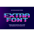 retro wave bold font with holographic glow effect vector image vector image