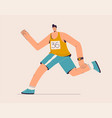 runner runs marathon athlete in sportswear vector image