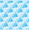 seamless cute whale pattern vector image