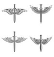 set of emblems with medieval sword and wings vector image