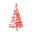 shadow christmas tree cartoon vector image vector image