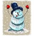 snowman sketch vector image vector image