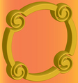 three-dimensional gold ring distorted on an orange vector image vector image