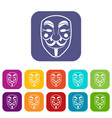 vendetta mask icons set flat vector image vector image
