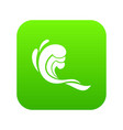 water wave icon digital green vector image vector image