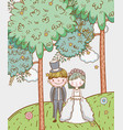 woman and man wedding with clouds and flowers vector image vector image