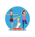 young girls doing yoga exersises yoga pilates or vector image vector image