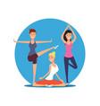 young girls doing yoga exersises yoga pilates or vector image