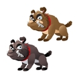 Two evil toothy dog series animals vector image