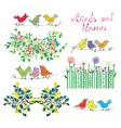 Floral design elements and birds set vector image