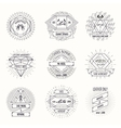 Shoemaking logo or shoes repair labels in hipster vector image