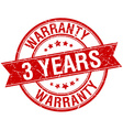 3 years warranty grunge retro red isolated ribbon vector image vector image