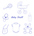 Baby Stuff blue line-art vector image vector image