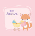 bashower fox with gift and cartoon decoration vector image