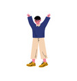 boy standing with his arms raised small primary vector image vector image