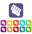 brick in a hand icons set flat vector image vector image